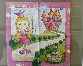 set of 2 Princess paper napkins and his frog