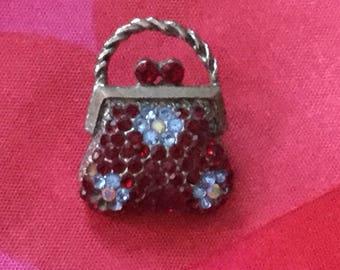 Vintage Rhinestone Handbag Brooch