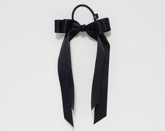 Black cream satin long tail bow hair elastic ponytail holder comb for women