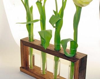 Oak test tube vase flower holder