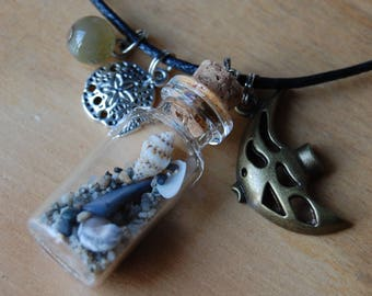 Beach in a Bottle,Sand & Shells,Bronze Angel Fish,Silver Sand Dollar,Stone Bead