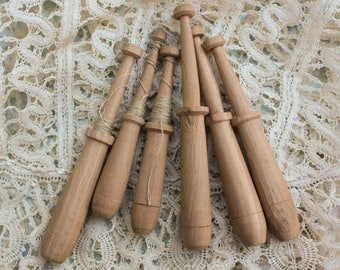 6 Vintage Lace Bobbins for lace making 3.5 to 4""