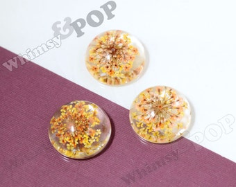 5 - REAL Yellow Resin Poured Flower Deco Flatback Glass Dome Cabochons, Glass Dome Real Flower Cabochons, Flowers in Glass, 25mm (R9-050)