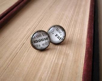 Parks&Rec Mouse Rat Earrings - 1930s Dictionary Pages Become One of a Kind Fan Gift - Subtle Classy - Andy Dwyer's Rock Band Funny Reference