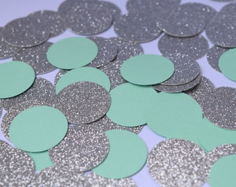 Mint and Silver Confetti, Mint Engagement Party Decorations, Bridal Shower Decorations, Mint Party Decorations, Baby Shower Decorations