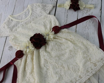 Burgundy Flower Girl Dress Rustic Flower Girl Dress Lavender Sash  Headband Ivory Vintage Country Flower GirlNavy  Dress Jr Bridesmaid Dress