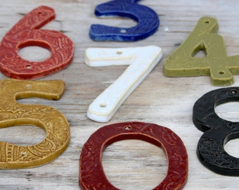 Nautical House Numbers - Set of 2 - Choose Your Color - Royal Blue Red Olive Green Moss Mustard Black White - Curb Appeal - Made to Order