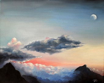 Original Painting, Mountain Painting, Landscape Painting, Oil on Canvas, Oil Painting, Sunset Painting, Realistic Artwork, Clouds Painting