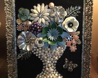 Framed Jewelry Flower Bouquet Art