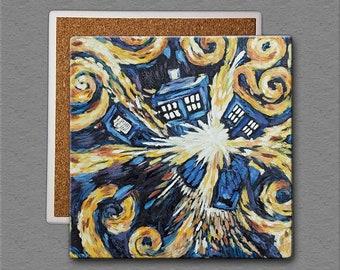 Doctor Who: Van Gogh Exploding TARDIS Set of 4 - 4x4 Square Sandstone Coasters