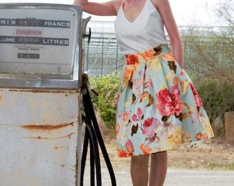 Flower skirt 60s / pleated / pockets. 01017