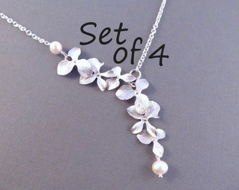 Pearl Bridesmaid Necklace Set of 4, Silver Orchid Flowers with Pearls, Bridal Party Jewelry, Wedding Jewelry, Lariat Style Necklace