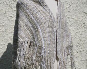 Ivory Handknit Shawl