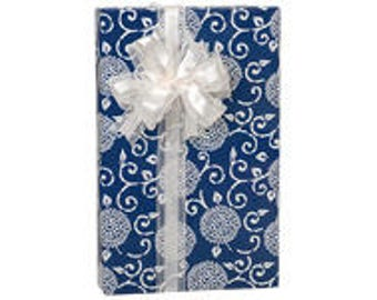 Blue Indigo Rhapsod  Gift Wrap Wrapping Paper-18ft Roll w. 20Gift Tags