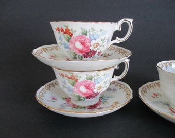 3 Cups and Saucers Englands Bouquet Crown Staffordshire Floral Tea Party Bridal Shower