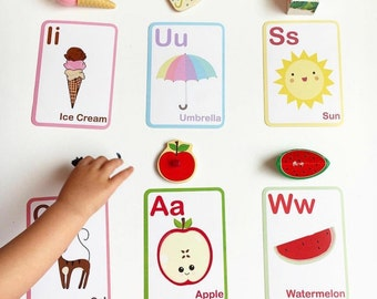 ABC Flashcards - Preschool Learning - Montessori Toys - Toddler Learning - Alphabet Flashcards - Educational Toys - Gift for Kids - New Baby
