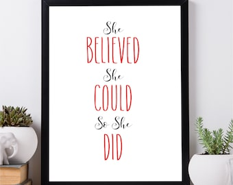 She believed, she could, she did, romantic gift, wedding gifts, love, couple gift, Valentine Day's gift, gift for him, her