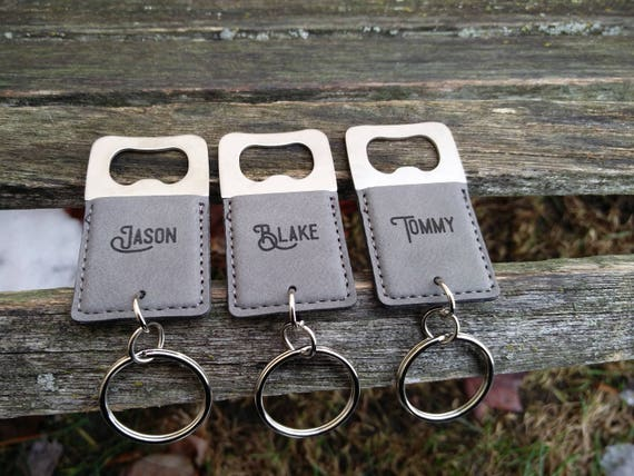 Customized Bottle Opener, Leather Keychain. Laser Engraved. Wedding, Groomsmen Gift, Dad, Anniversary. Groom, Birthday, Christmas, Stepdad