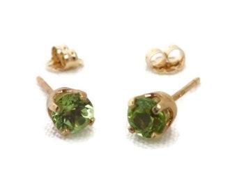 Peridot Earrings, 14K Gold Earrings, Gold Studs, Bridal Earrings, Vintage Earrings, Solid Gold Studs, Pierced Earrings
