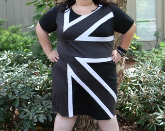 Plus Size Dress Womens Union Jack Plus Size Knit Dress, British Plus Size Dress, Black White and Grey Knit Dress, Knit Plus Size Dress