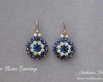 Beaded Earrings Tutorial - Blue Roses Earrings - 8mm Beaded Bezel Swarovski Chatons - Swarovski Earrings - PDF pattern