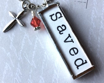 Saved Necklace, Word Pendant, Christian Jewelry