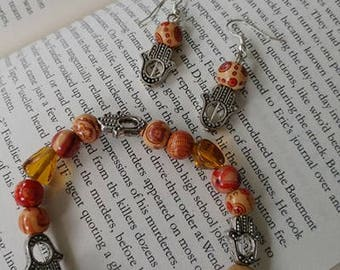 Hamsa Hand beaded bracelet with matching earrings
