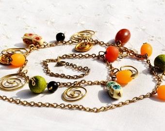 Free Shipping-Necklace-Spiral Necklace-Vintage Plastic Bead Colorful Necklace-Metal Buttons-Gold Tone Chain-Orange Yellow Green-from Israel
