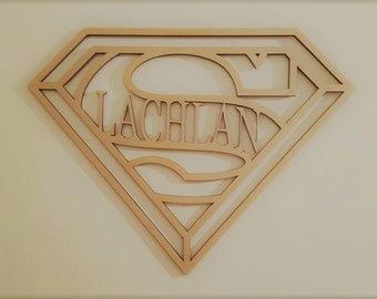 Superman  Frame Kids Letters Wall Hanging Sign