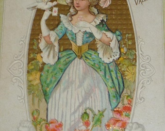 Fancy Lady With Dove and Poppies Antique Valentine Postcard