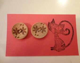 Brown Flower Wooden Button Earrings