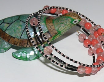 Coral & Black Beaded Oval Shaped Memory Ladies Bangle Handmade Bracelet