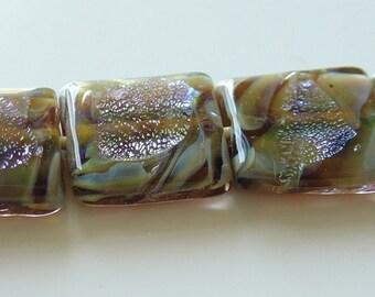 15.5mm Unicorne Lampwork Tile Bead - Safari Desert - 2 Pieces - 21520