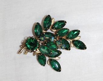 "Vtg Emerald Green & Green Aurora Borealis Rhinestone Pin Brooch 2 1/4"" x 2 1/2"""