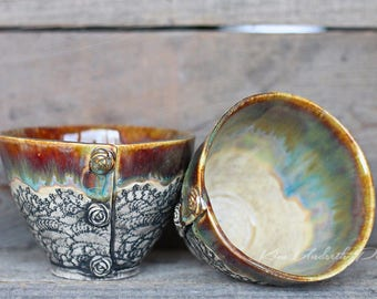 Autumn Delight vintage bowls, wine cup, tea bowl, prep bowl, kitchen decor, cute pottery bowl, vintage bowl, dessert bowl, ceramic art