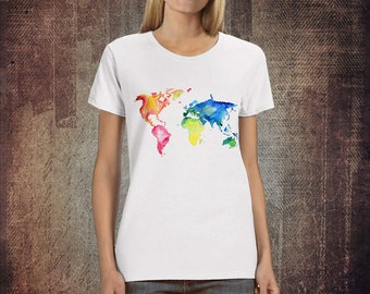 Map print shirt etsy world map watercolor gumiabroncs Images