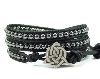 SALE Leather Wrap Bracelet Hematite Gemstones Celtic Sister Knot Button Black Beaded Jewelry