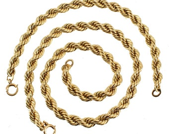 """Vintage 12K GF Gold Filled Twist 6MM Chain Necklace & Bracelet 15.5"""" 69.1 Grams"""