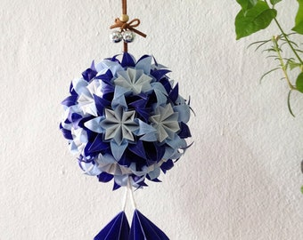 Blue Origami Flower Ball. Translucent Origami Flower. Origami Christmas Ornament. Home Decoration.