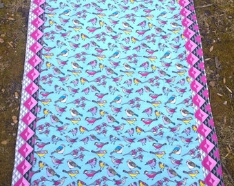 Pink Tribal Birdy Lap/Baby Quilt