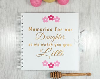 Memories For Our Daughter As We Watch You Grow Letters to Daughter Personalised Memory Book Baby Memory Book Baby Keepsake Baby shower book
