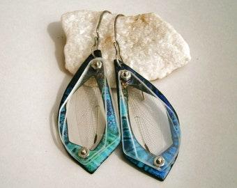 Enameled Dragonfly Wing Specimen Earrings
