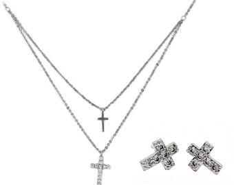 Silver cross double chain set
