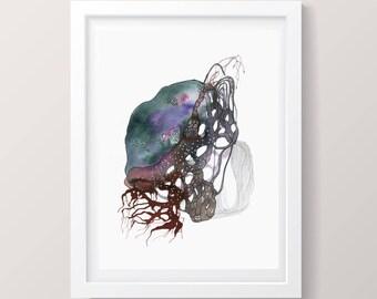 "Science art watercolor painting biology Print Biology Art Print Microbiology Print of surreal Science print ORIGINAL painting, 5 x 7"""