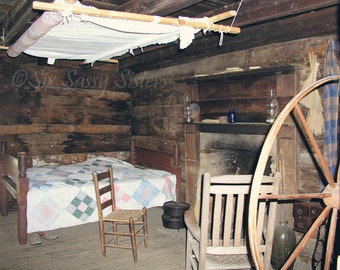 Log Cabin Print, One Room Cabin, Pioneer Cabin, Farmhouse Decor, Rustic Wall Decor, Farm Photography, Log Cabin, Rustic, Primative Decor