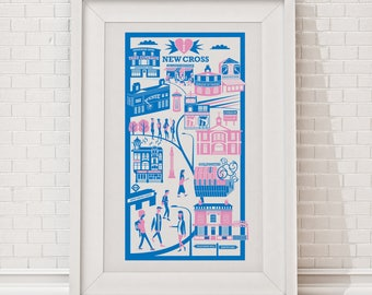 New Cross Print | London illustration | New Cross illustration | Travel poster | London gift | Art print | Housewarming gift | Wall art