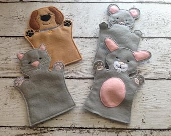 Dog Hand puppet, Cat Hand Puppet, Hand Puppet Set, Felt Hand Puppet, Children's Hand Puppet