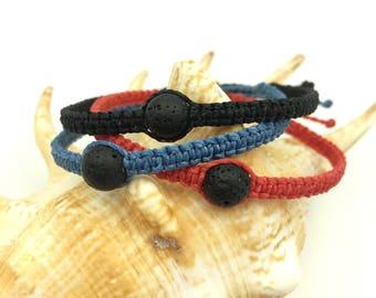 Lava Stone Bracelet, Braided Friendship Bracelet, Boho Bracelet, Wax Cord Bracelet, Outdoorsy Gift, Beach Boho Bracelet, Waterproof Jewelry
