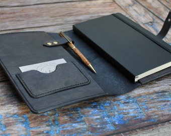 Handmade A5 Leather Notebook Cover in Grey, Moleskine Cover, Leather Journal Cover, Gift For Him