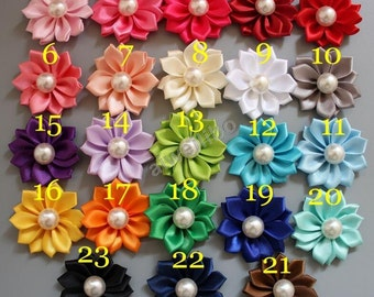 Satin ribbon flowers with Pearl Cente, DIY decorative flowers